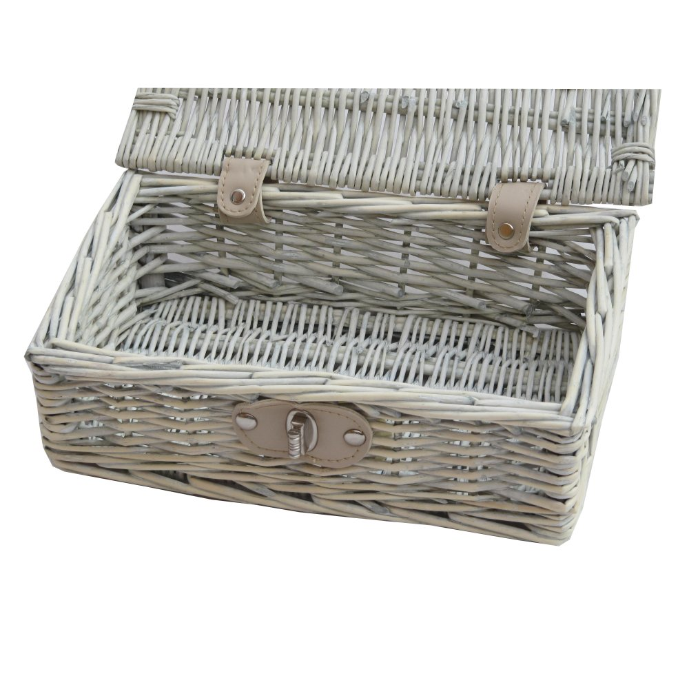 Provence White Wash Small Wicker Empty Hamper Basket Storage