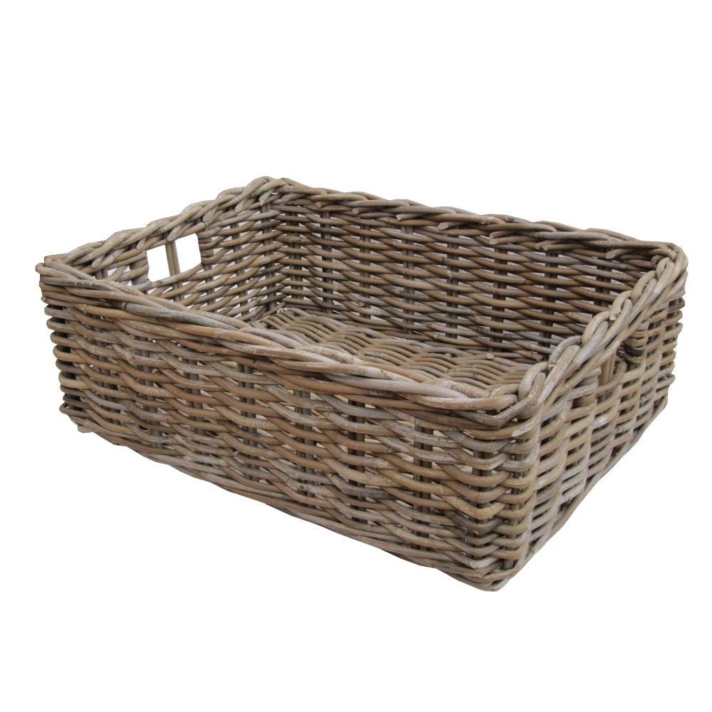 Rectangular Grey & Buff Rattan Storage Baskets