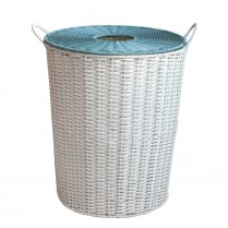 Retro Style Polywicker Laundry Basket - White & Blue