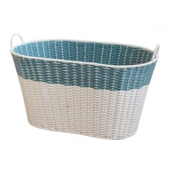 Retro Style Polywicker Washing Basket - White & Blue