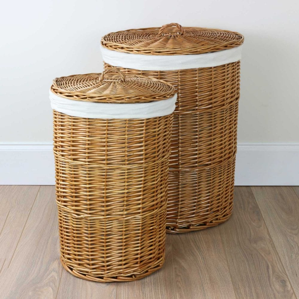 Round Natural Wicker Laundry Basket The Basket Company
