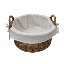 Round Natural Wicker Storage Basket With Handles