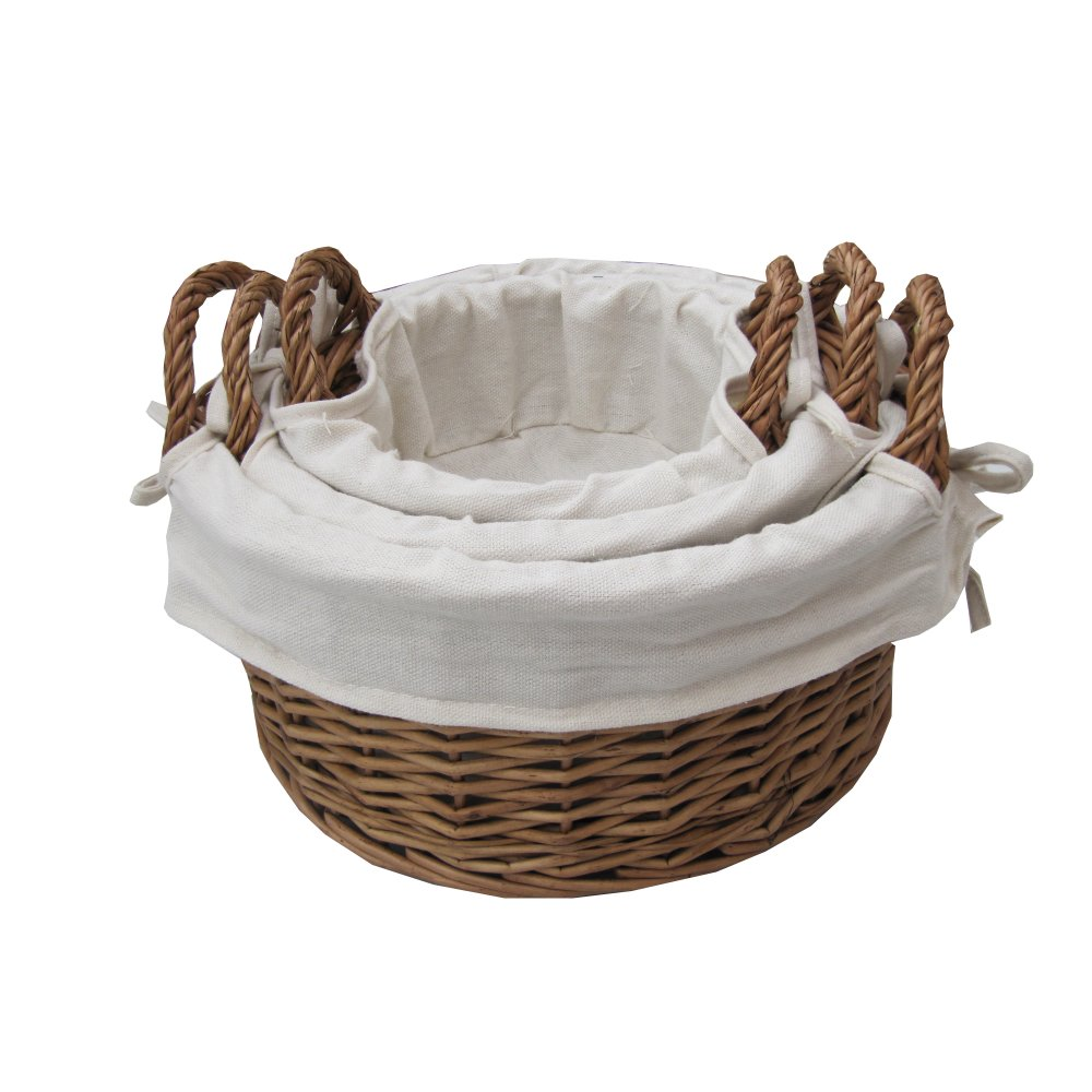 Round Wicker Baskets With Handles : Buy round natural wicker storage basket from the