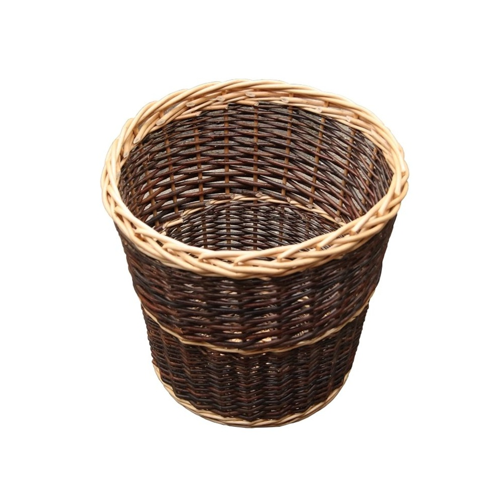 Round rustic wicker waste paper bin from the basket company - Wicker trash basket ...
