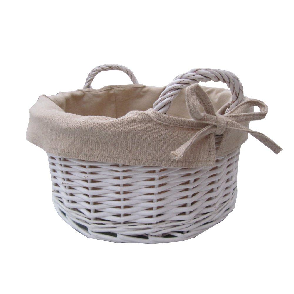 Round White Wicker Storage Basket With Handles