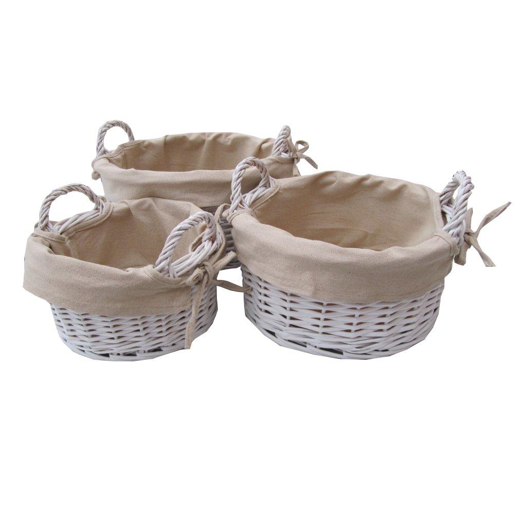 White wicker baskets with handle - Round White Wicker Storage Basket With Handles
