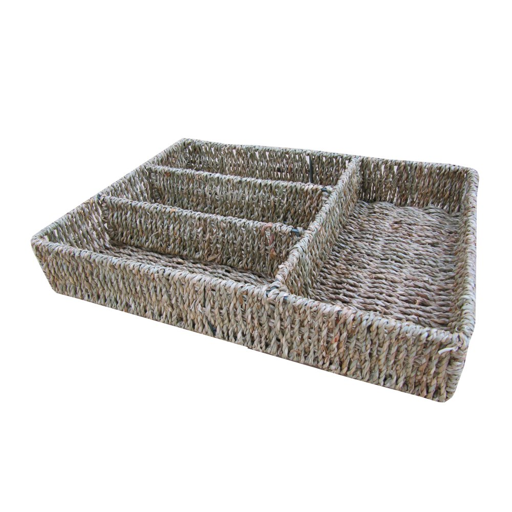 Soft Rush Lidded Rectangular Lined Storage Basket: Buy Seagrass Cutlery Drawer Organiser Online From The