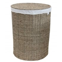 Seagrass Round Laundry Basket Lined
