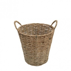 Seagrass Small Natural Round Plant Pot / Cutlery Basket
