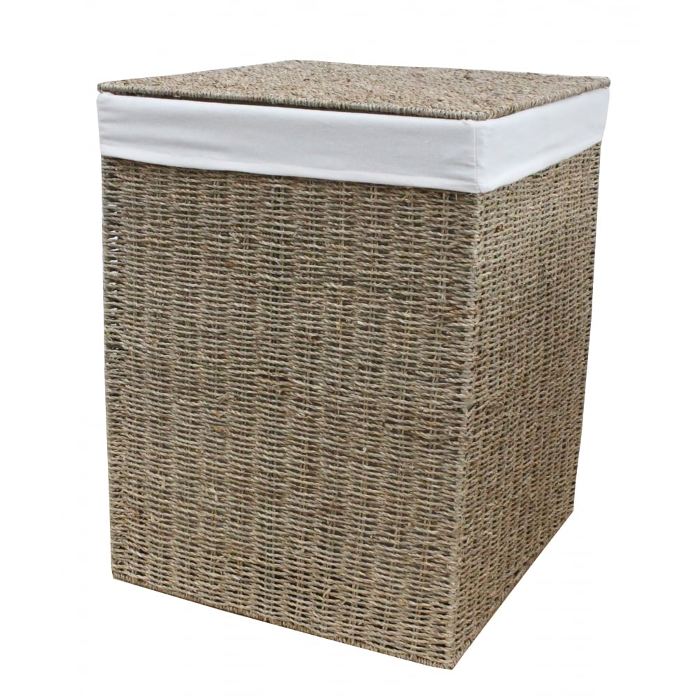Antique Wash Wicker Lined Storage Basket: Seagrass Square Laundry Basket Lined