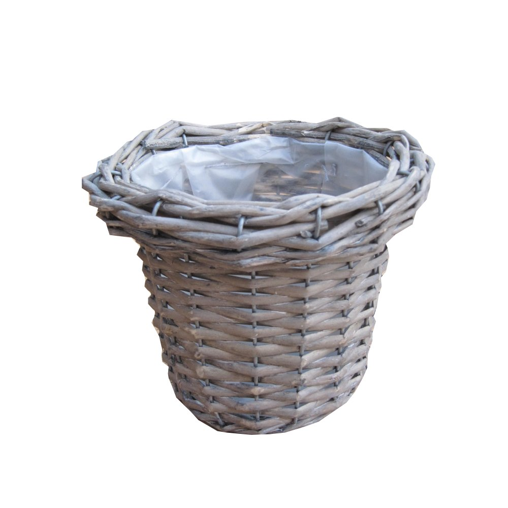 Buy Small Grey Round Wicker Plant Pot Online From The