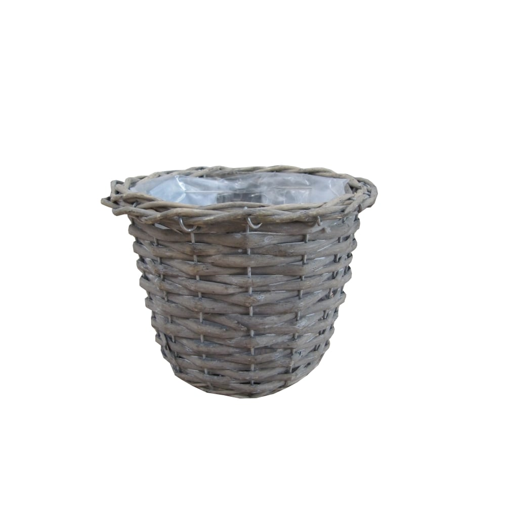 small grey wash round wicker plant pot