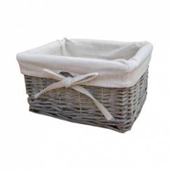 Small Grey Wash Wicker Storage Basket - Lined
