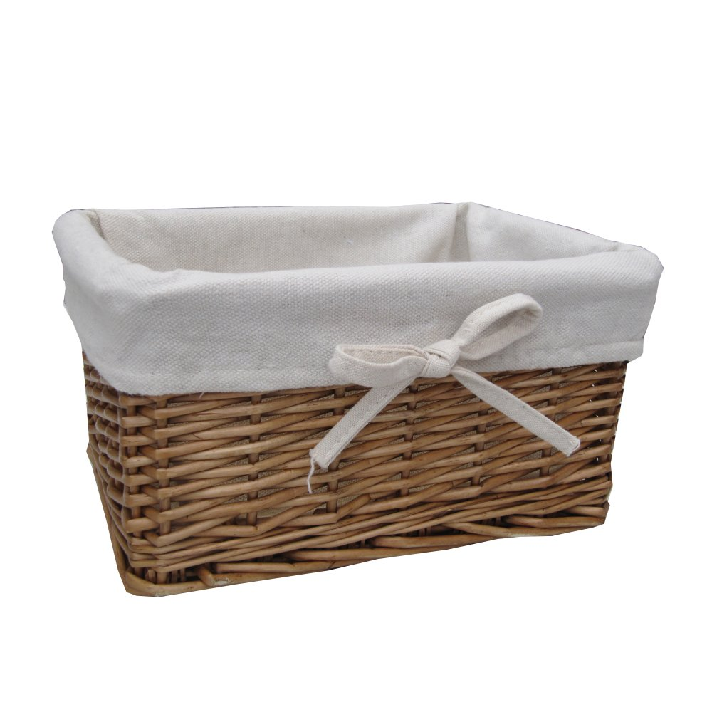 buy small natural lined wicker storage basket from the. Black Bedroom Furniture Sets. Home Design Ideas
