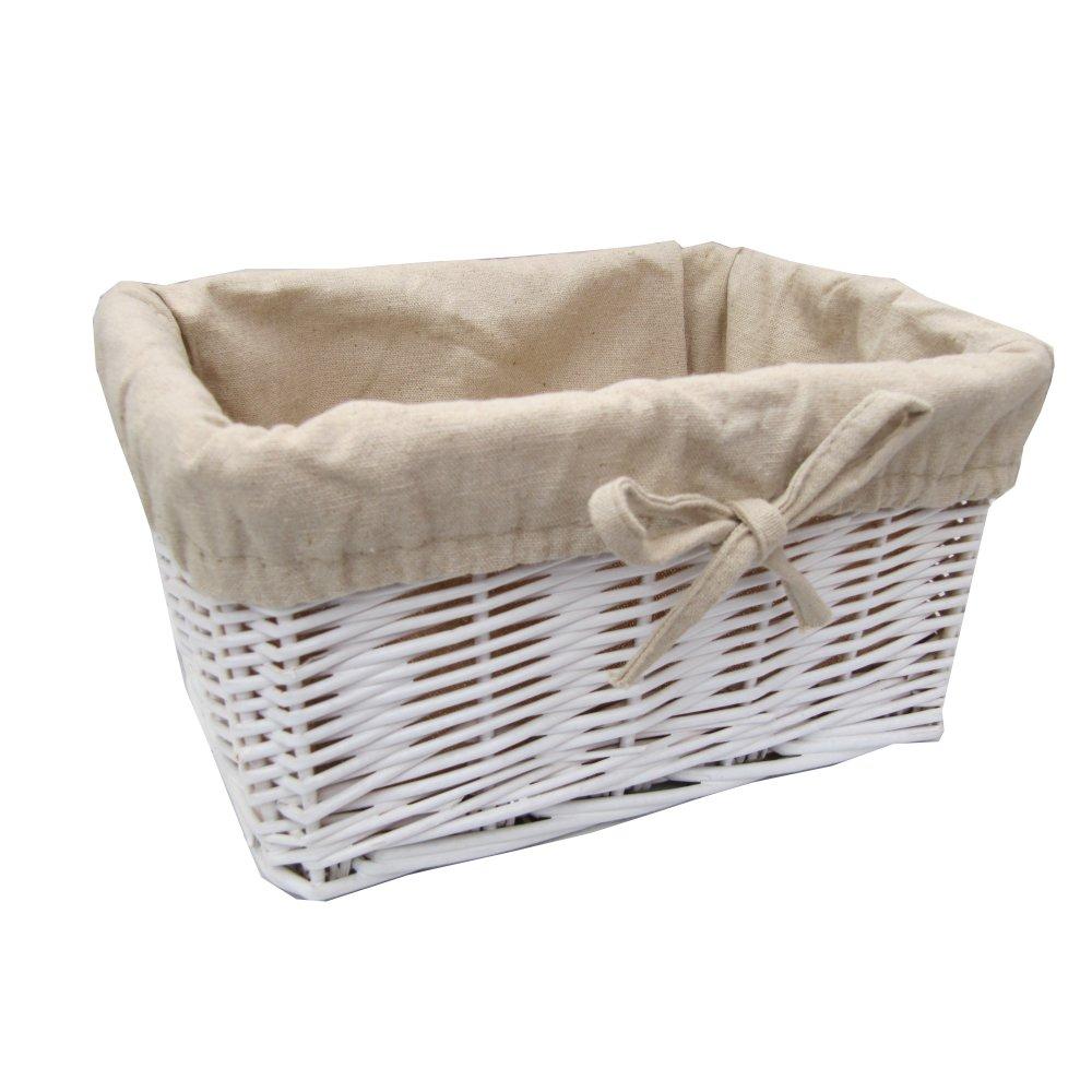 Small White Lined Rectangular Wicker Storage Basket