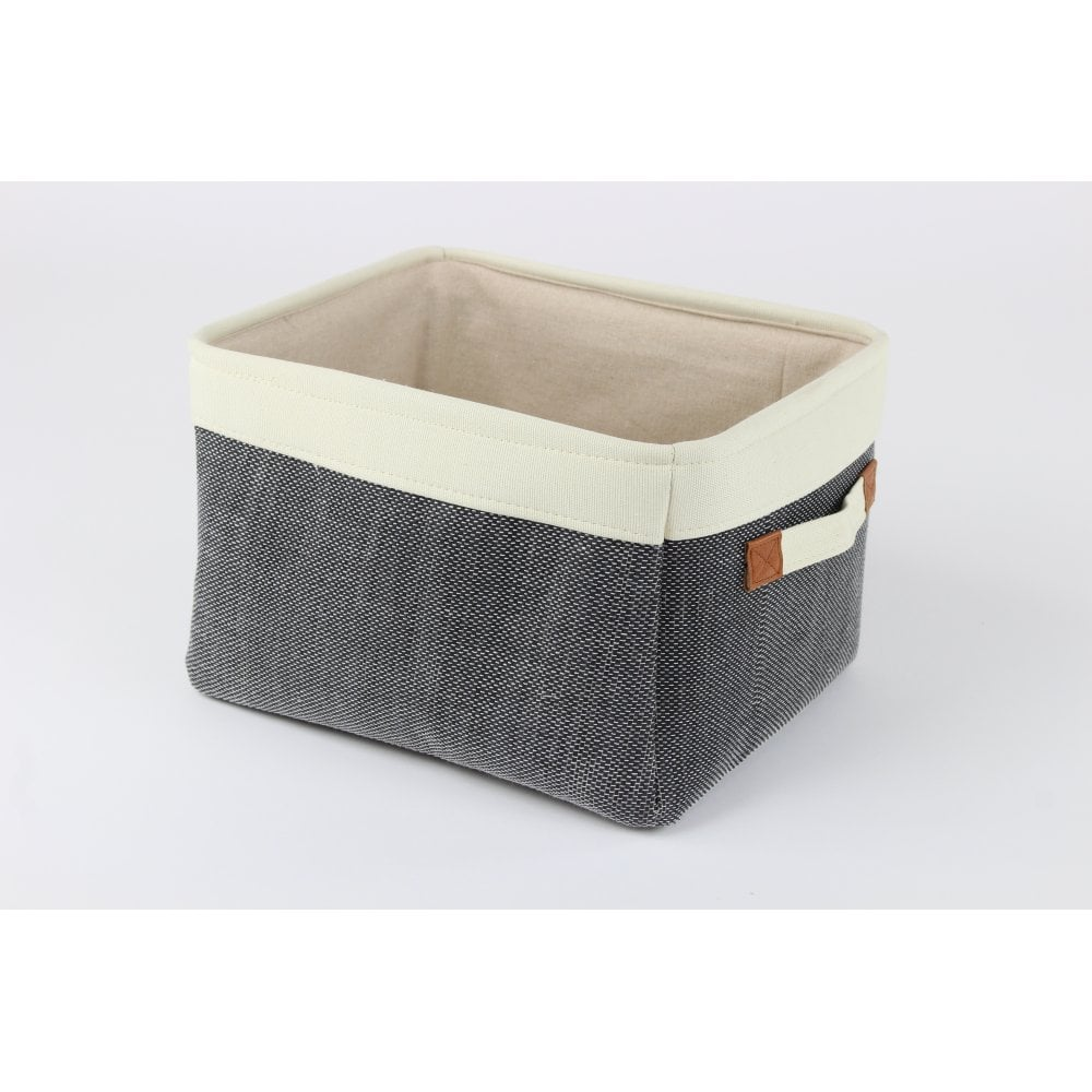 Soft Charcoal Grey Canvas Storage Basket