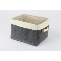 Soft Charcoal Grey Canvas Storage Basket ...