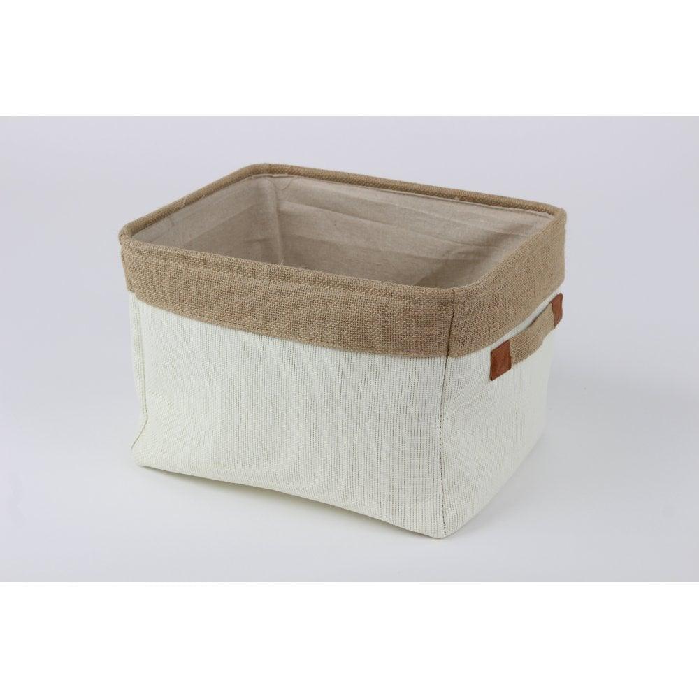 Soft Cream Canvas Storage Basket