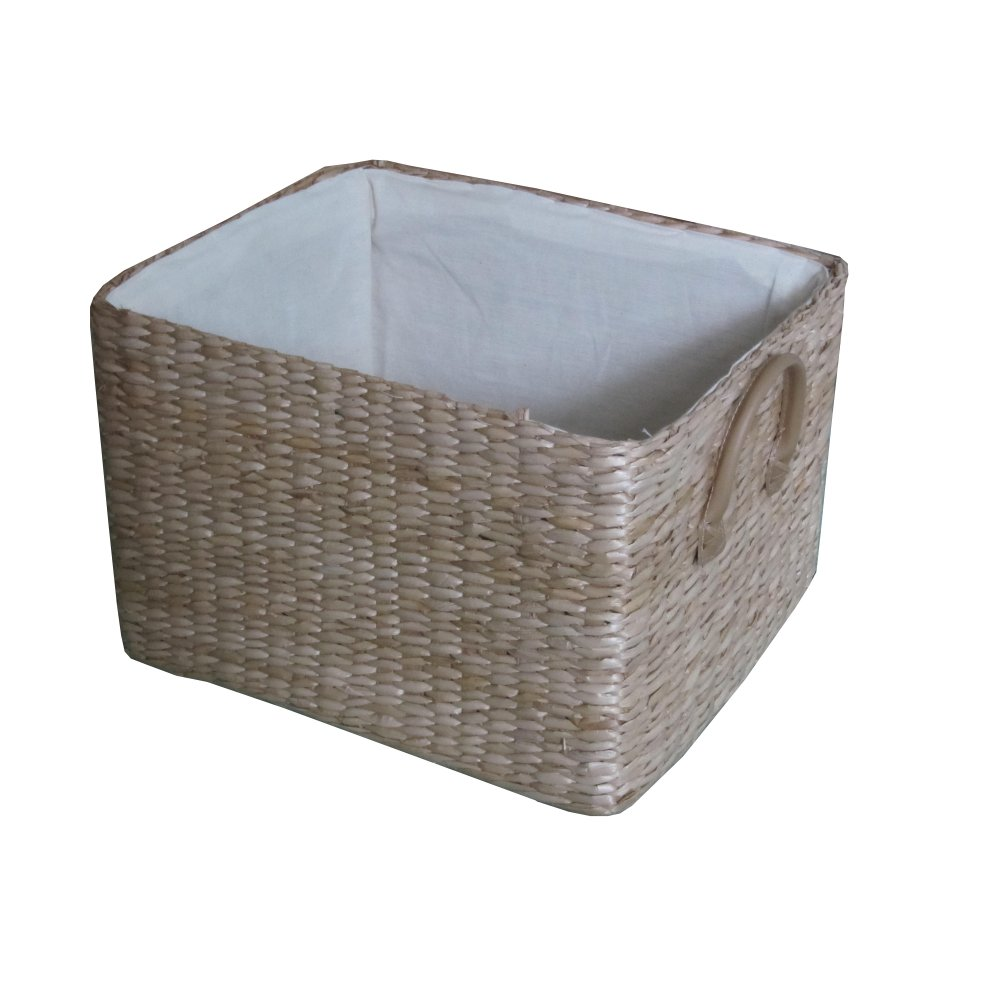 Soft Rush Rectangular Deep Lined Storage Basket