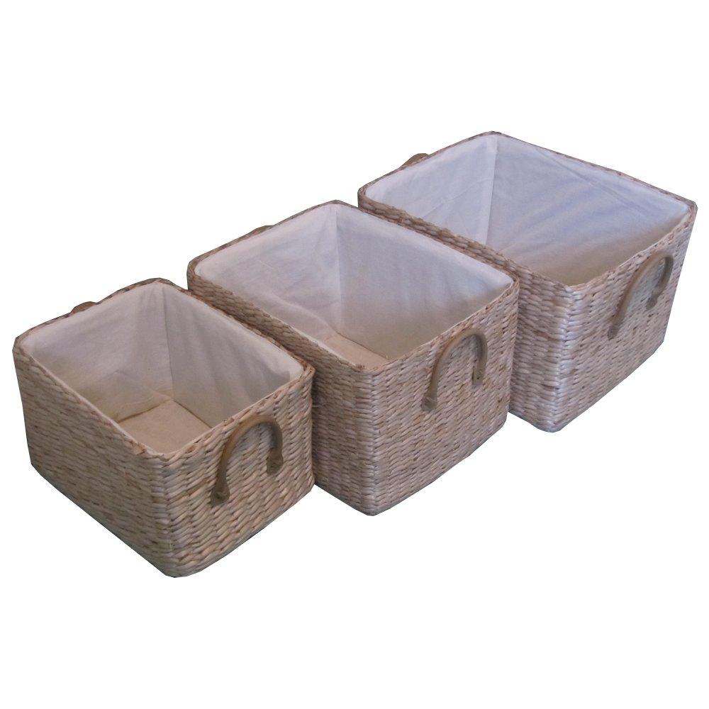 Soft Rush Lidded Rectangular Lined Storage Basket: Soft Rush Rectangular Deep Lined Storage Basket