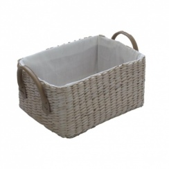 Soft Rush Rectangular Lined Storage Basket