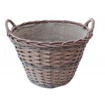 Somerset Round Wicker Log Basket - Hessian Lined