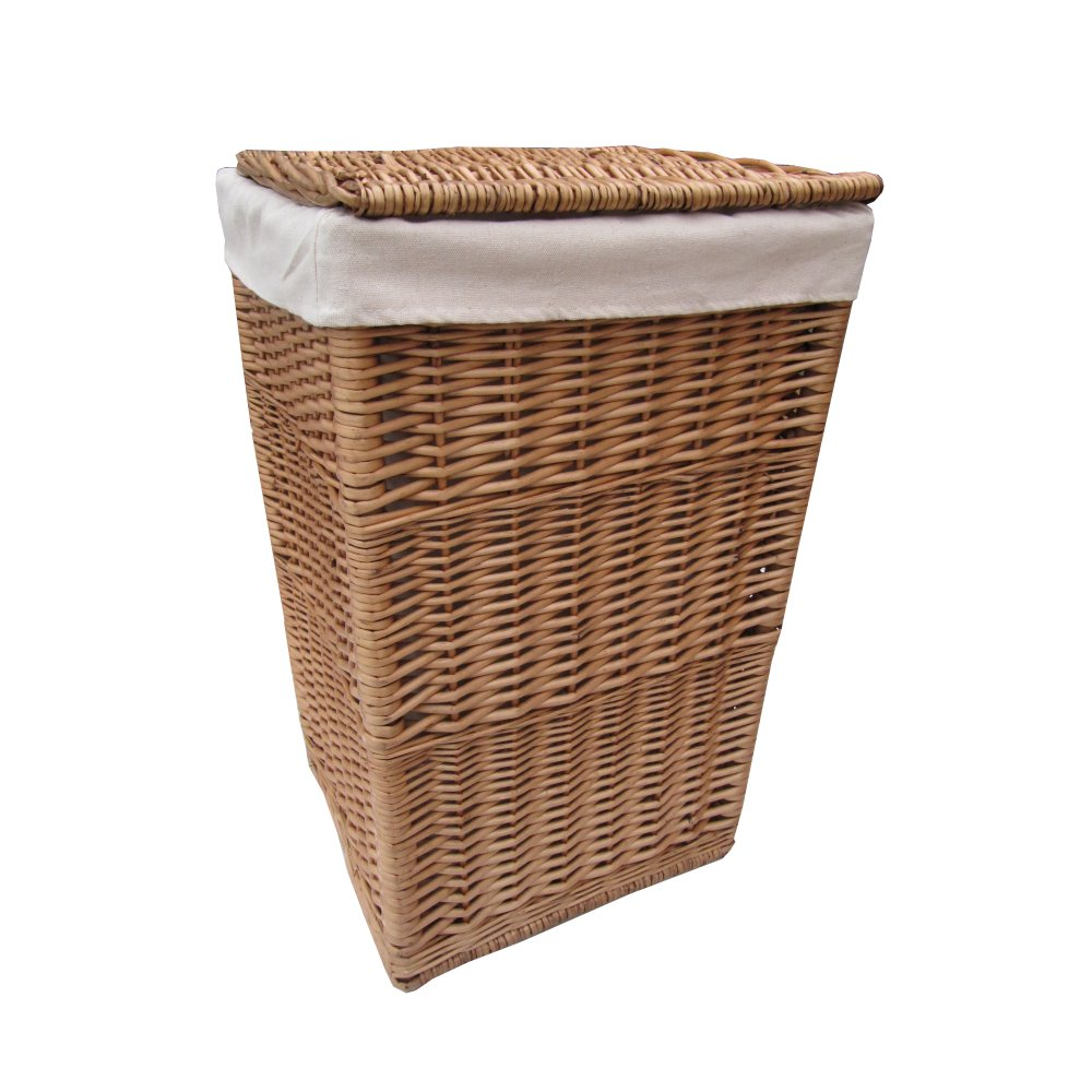 Buy square natural wicker laundry basket from the basket company - Wicker clothes hamper ...