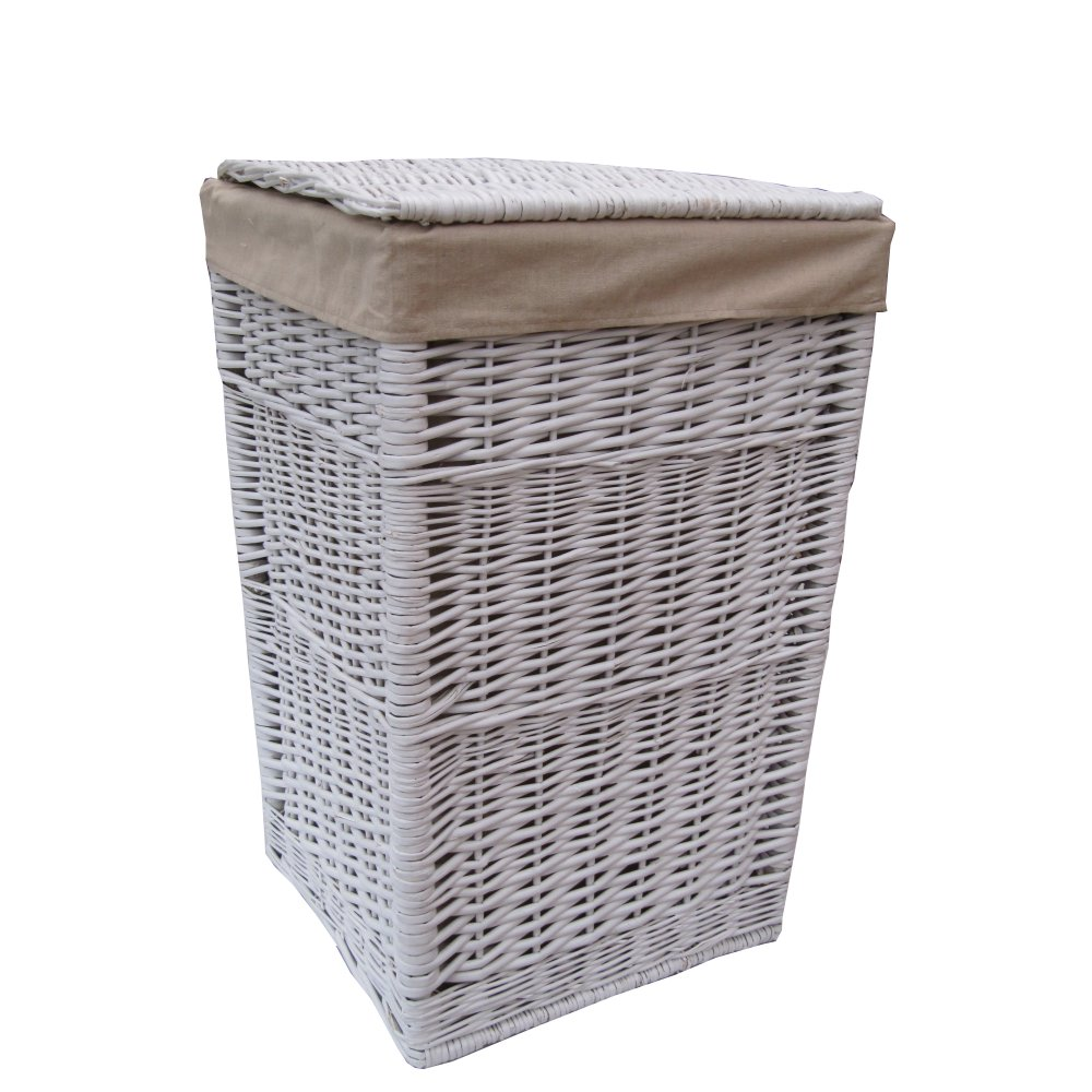 Square white wicker laundry basket White wicker washing basket