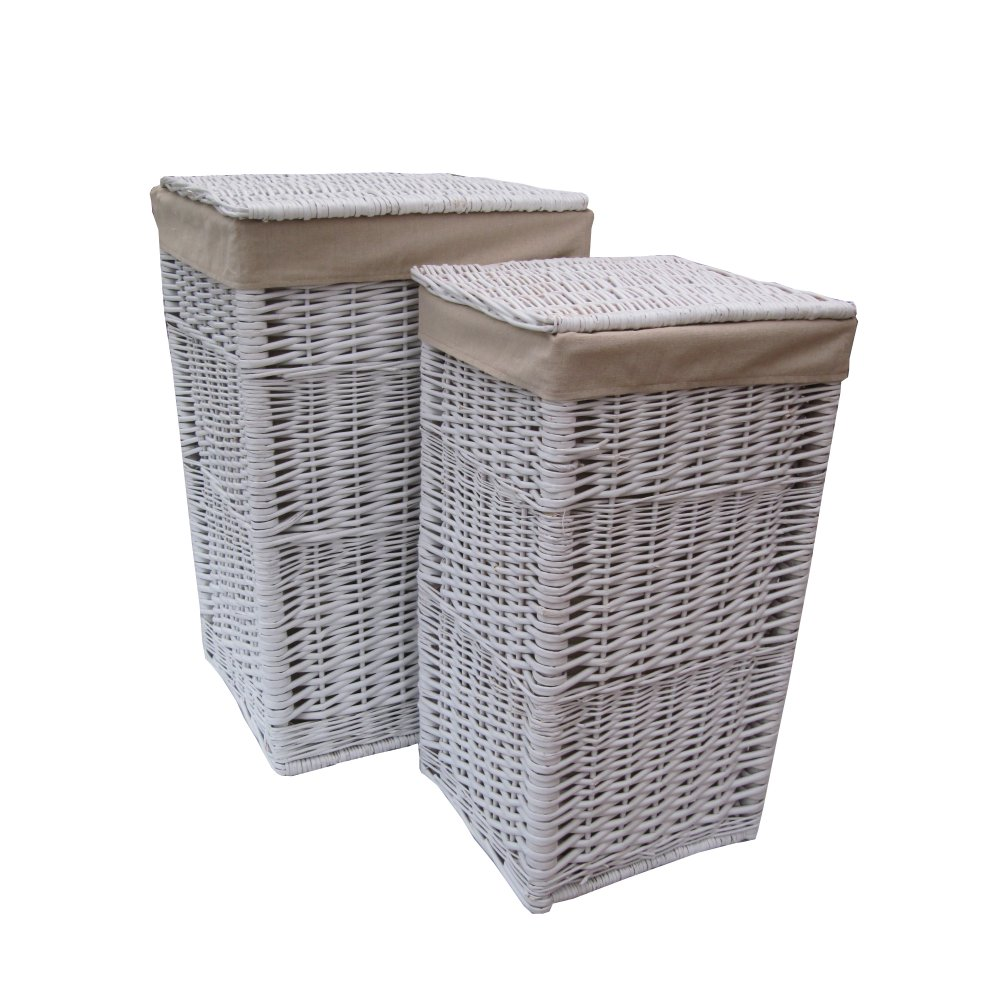 Square white wicker laundry basket
