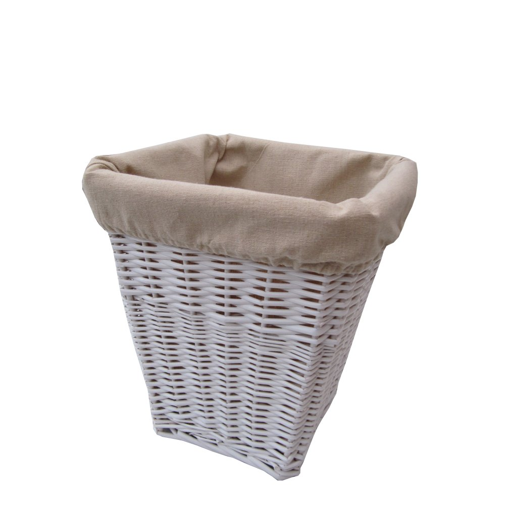 Square white wicker waste paper bin - Wicker trash basket ...