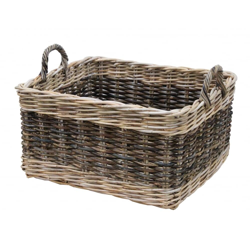 Rectangular Grey Buff Rattan Storage Baskets: Buy Two Tone Rattan Rectangular Wicker Log Basket From The