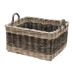 Two Tone Rattan Rectangular Wicker Log Basket
