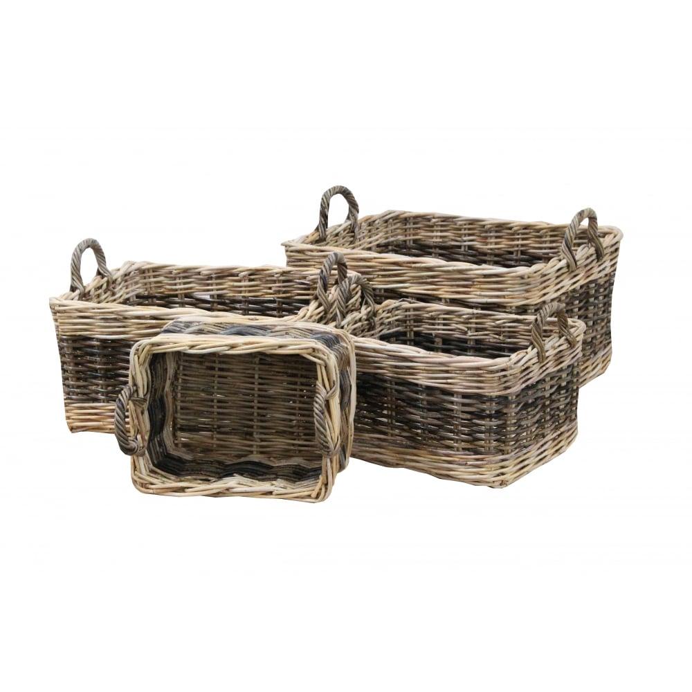 Buy Coniston Wicker Storage Basket: Buy Two Tone Rattan Rectangular Wicker Log Basket From The