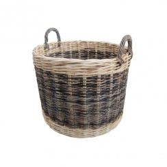 Two Tone Rattan Round Wicker Log Basket