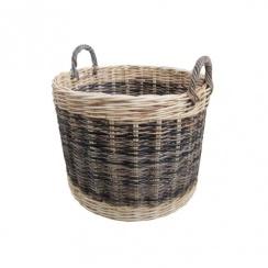 Two Tone Rattan Round Wicker Log Basket
