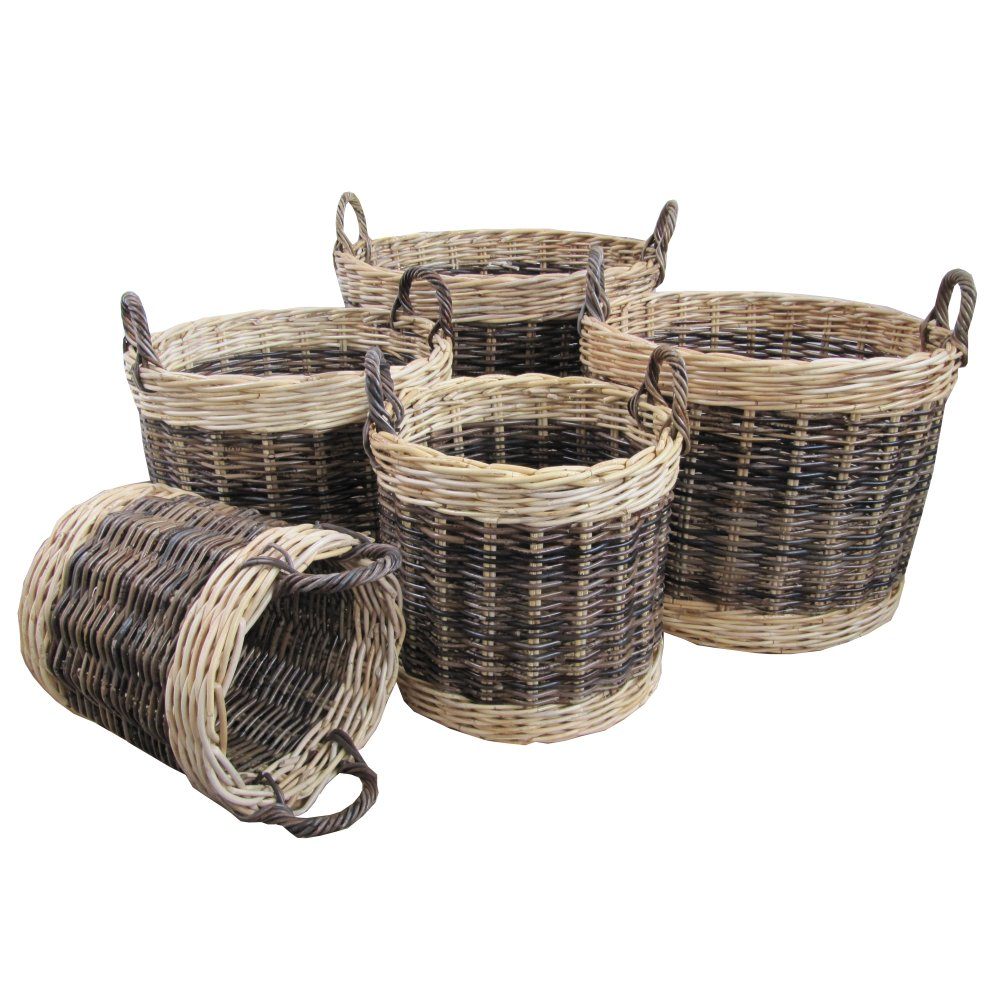 Buy Two Tone Rattan Round Wicker Log Basket From The