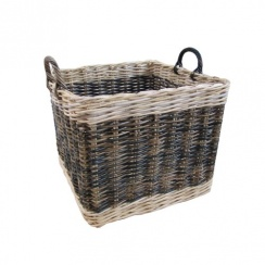 Two Tone Rattan Square Wicker Log Basket