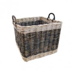 Two Tone Rattan Square Wicker Log Basket