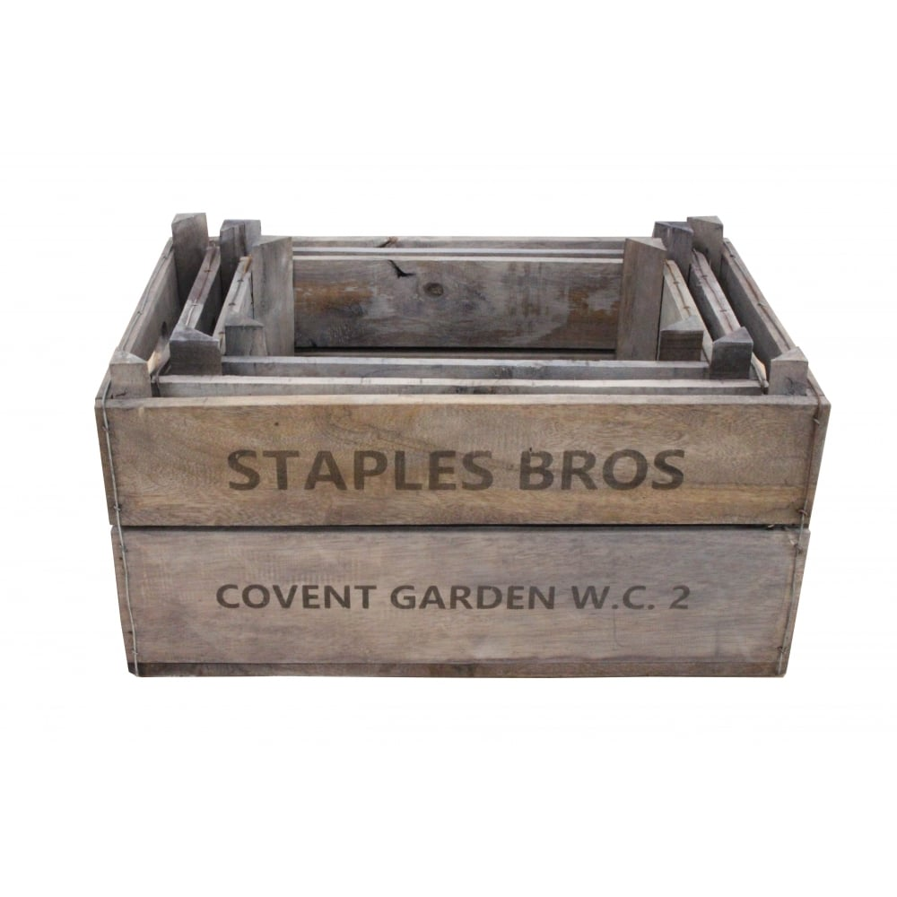 Vintage style deep apple box crate recycled wooden storage box for Vintage apple boxes