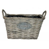 Vintage Style Rectangular Grey Willow Planter