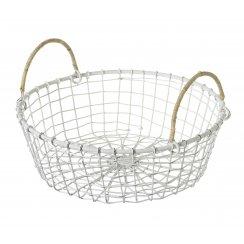 Vintage Style Round White Wire Basket
