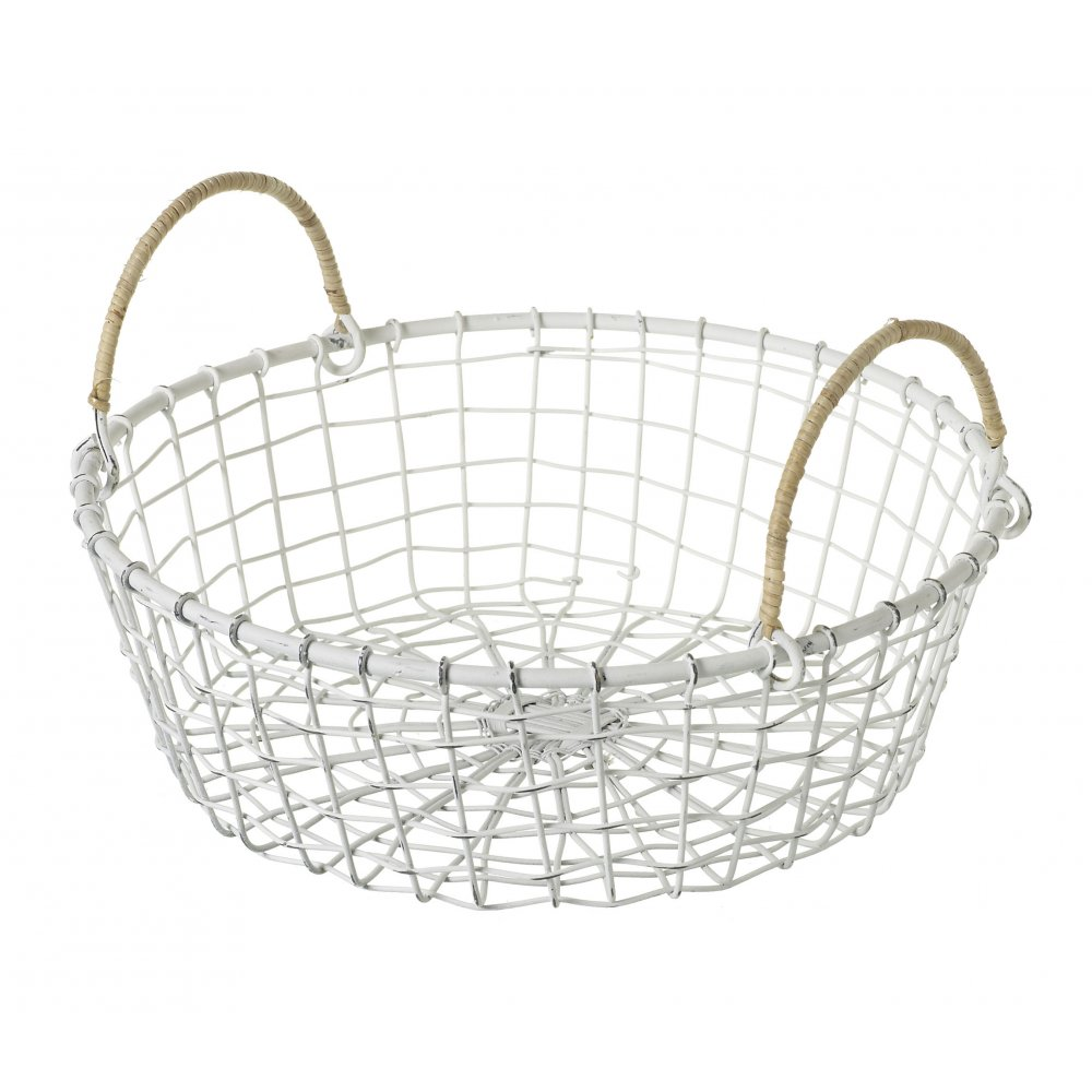 vintage style round white wire basket. Black Bedroom Furniture Sets. Home Design Ideas