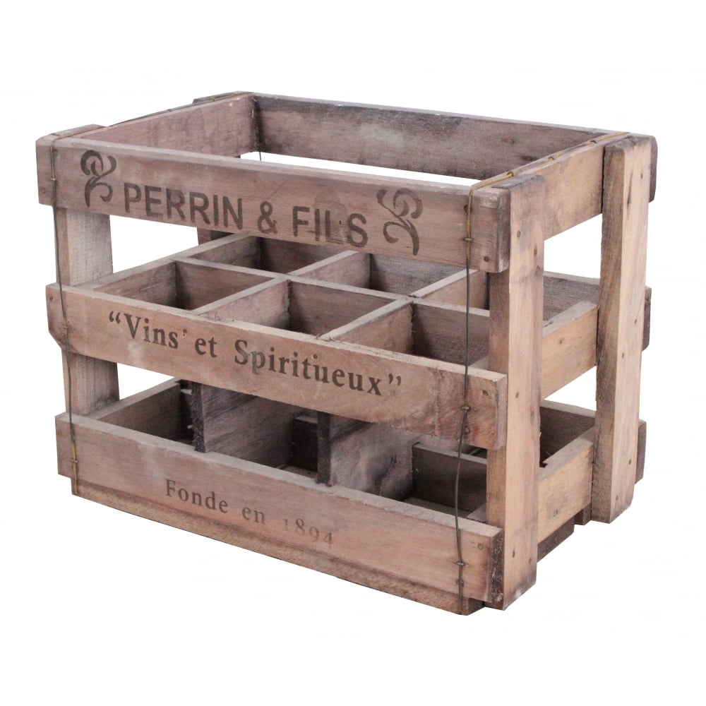 Buy vintage style wine crate 6 bottle online for Where to find old wooden crates