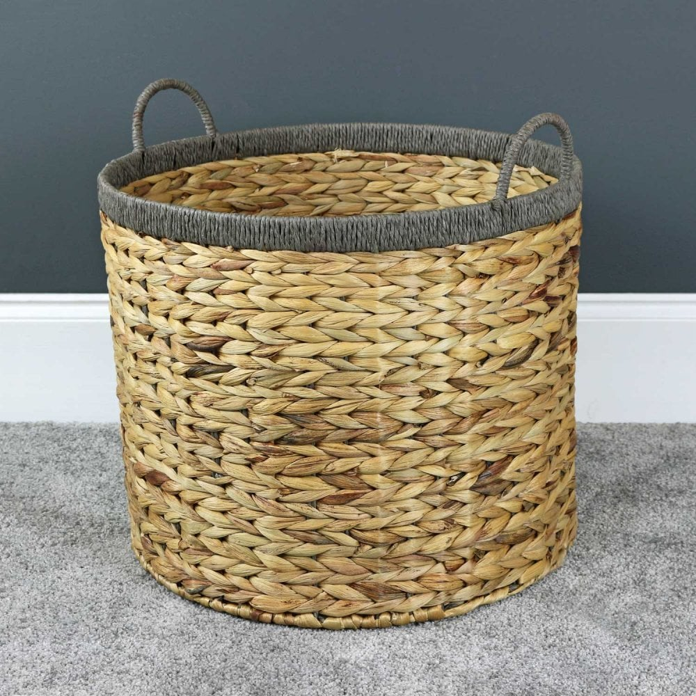 Water Hyacinth Grey Rope Round Floor Basket The Basket Company