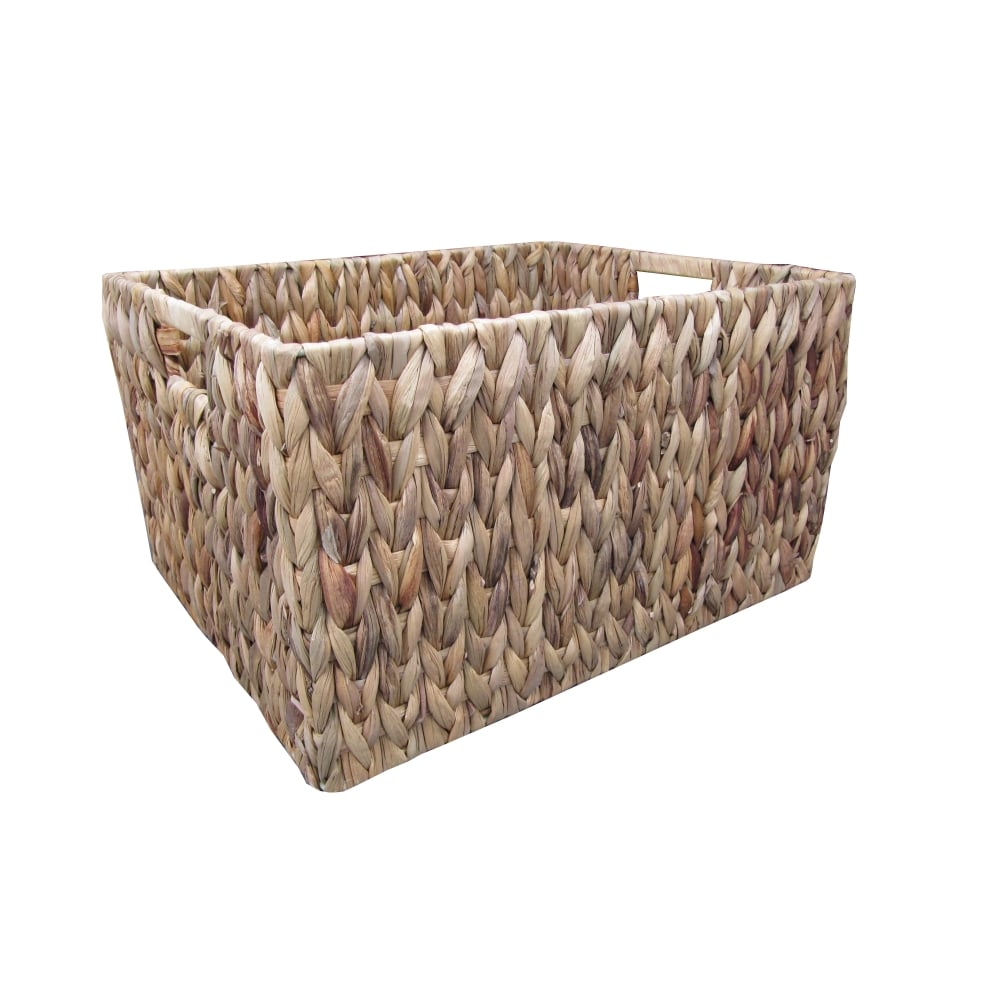 Soft Rush Lidded Rectangular Lined Storage Basket: Buy Water Hyacinth Rectangular Storage Baskets From The