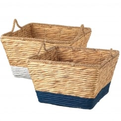 Water Hyacinth Square Storage Basket White or Blue
