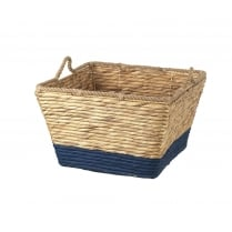 Water Hyacinth Square Storage Floor Basket - Blue
