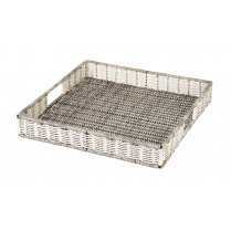 White & Grey Square Polywicker Tray