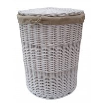 White Round Wicker Laundry Basket