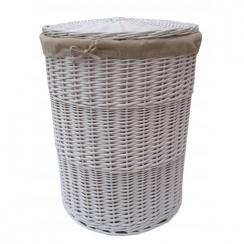 White Round Wicker Laundry Basket